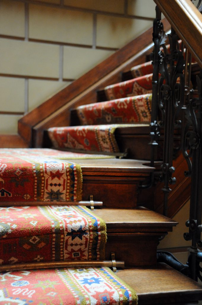 patterned carpet on stairs of museum