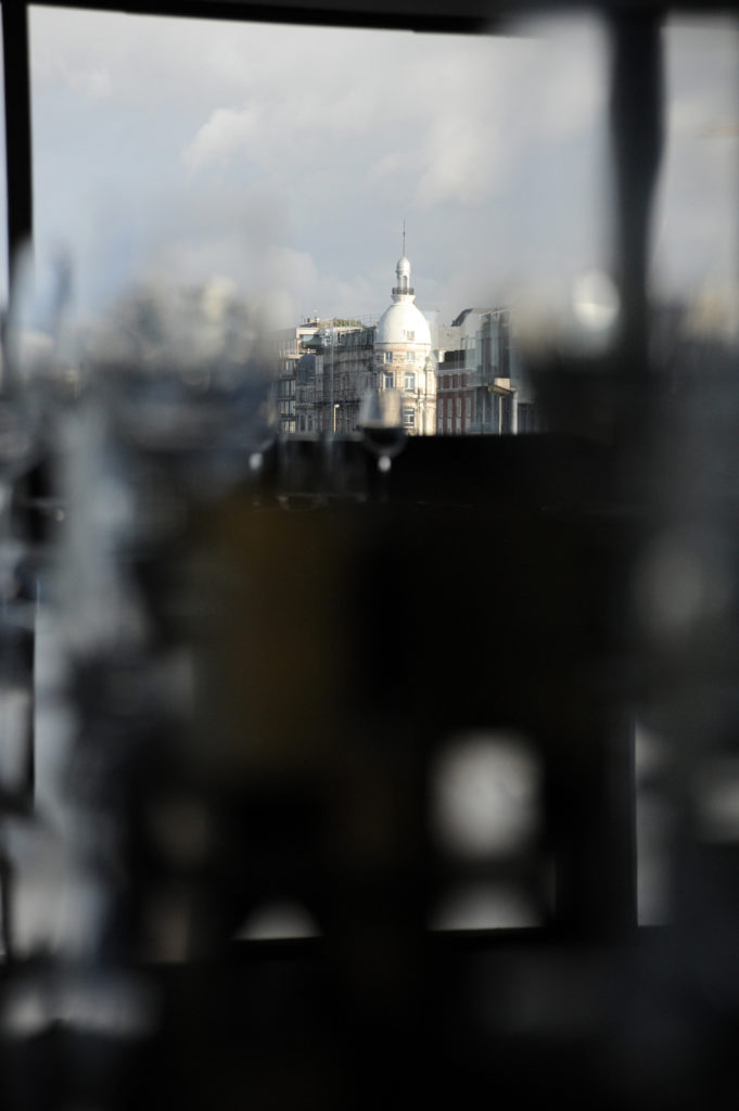 view of antwerp city skyline from RAS restaurant window