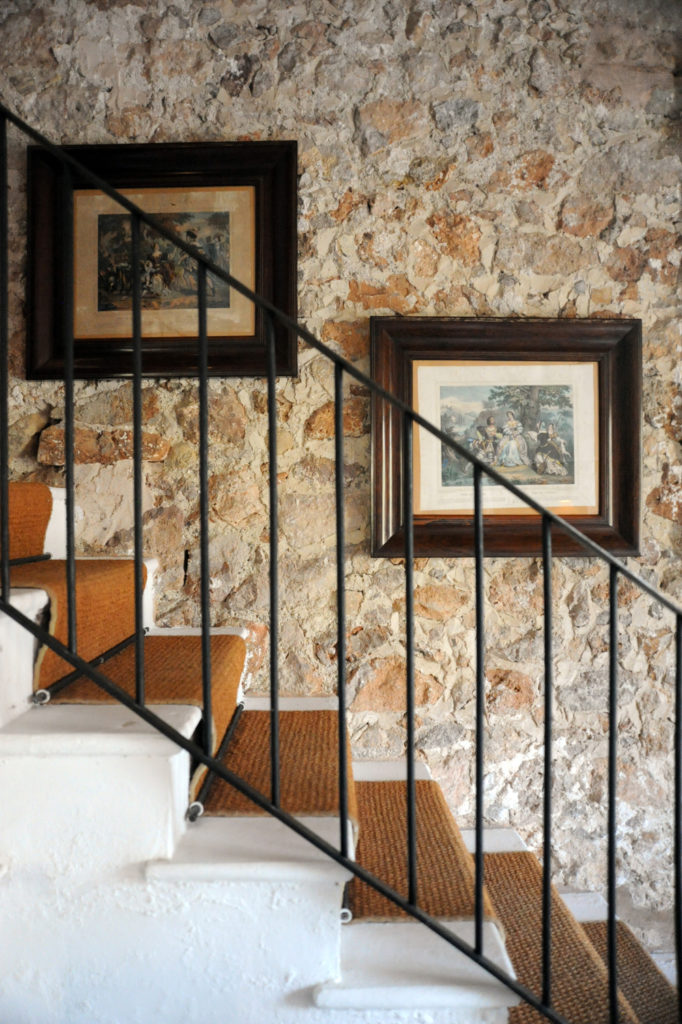 stone wall with stairs in front