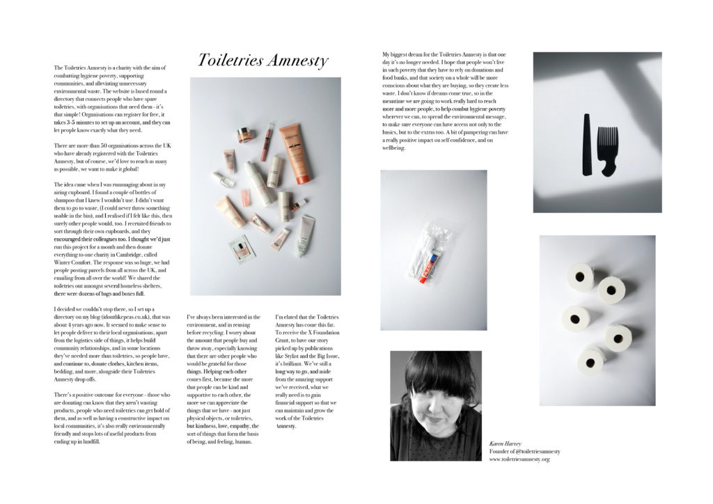 double page spread of magazine story about Toiletries Amnesty