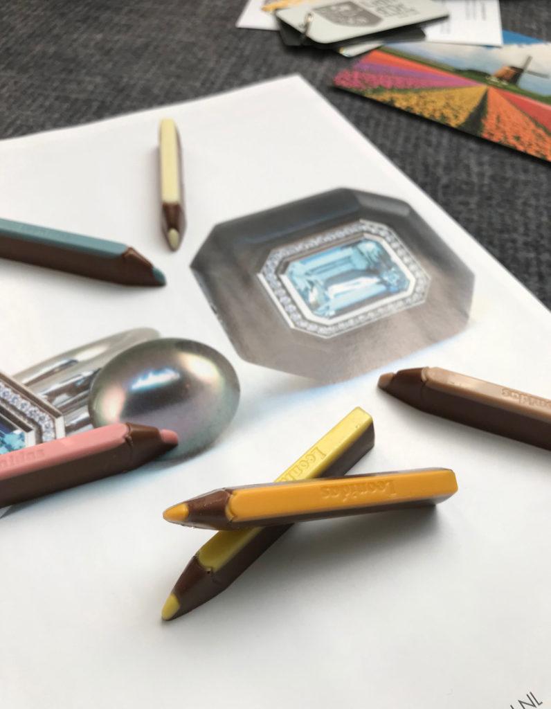 chocolate crayons on a magazine