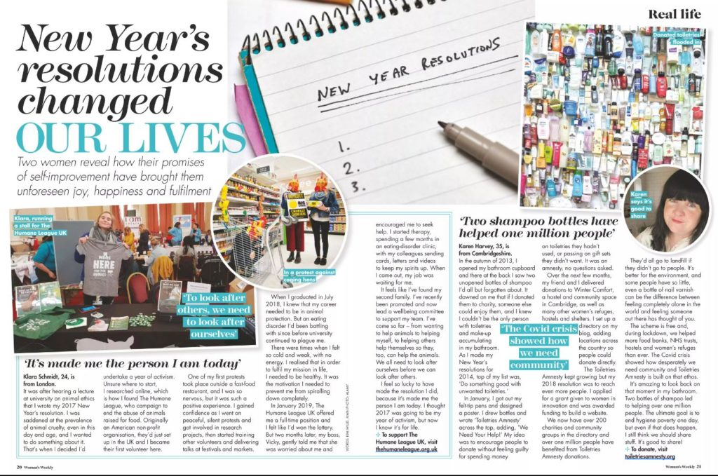 double page spread of magazine story about new years resolutions