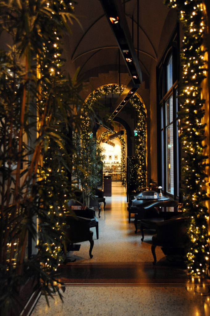 a long arched corridor filled with dark leaves and yellow fairy lights