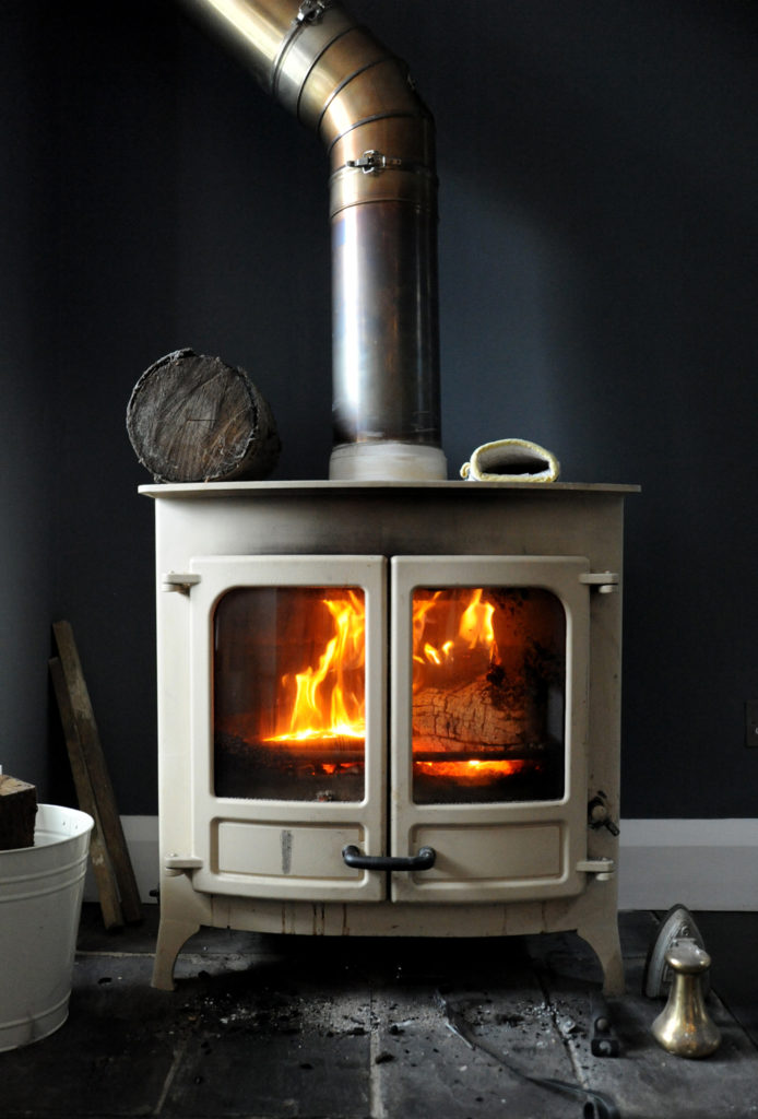 wood burner with fire