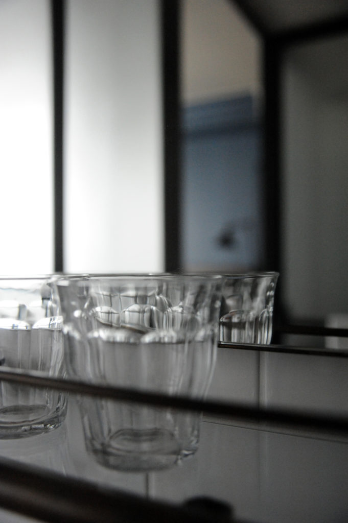 clear glass on a shelf