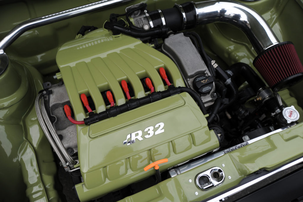 VW R32 engine bay painted green